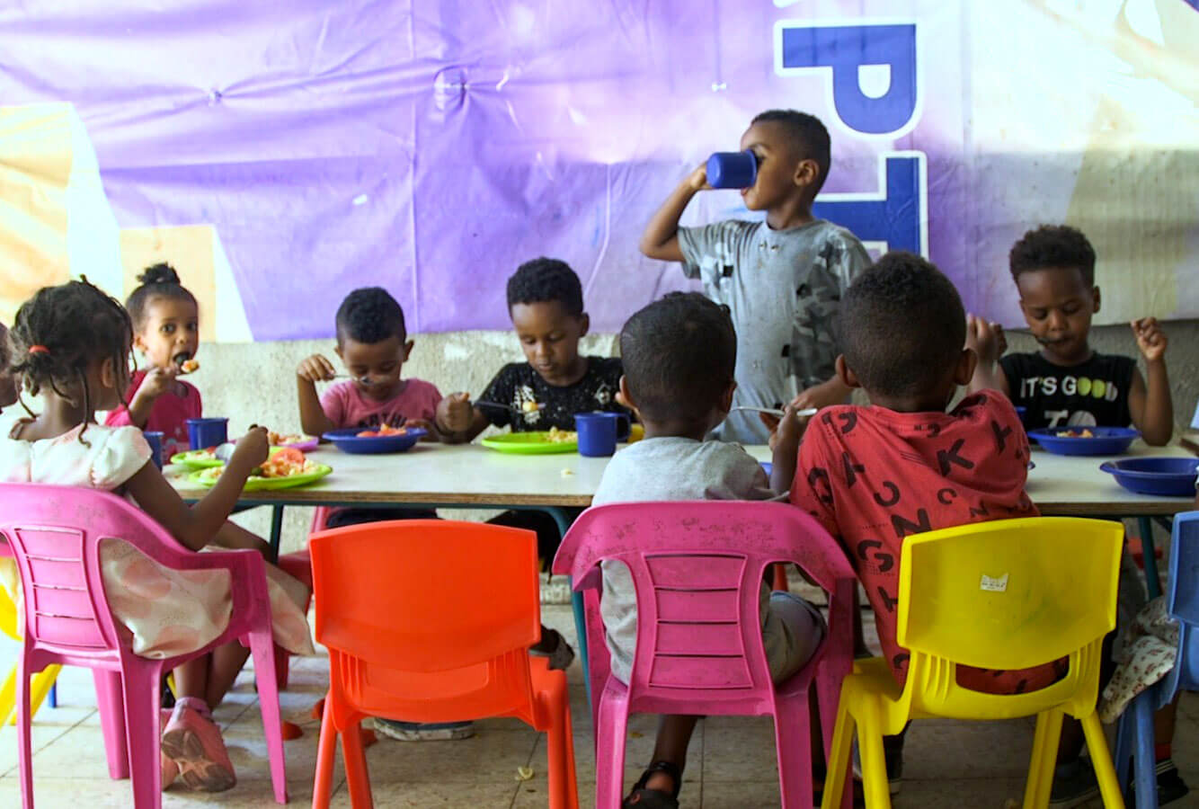 Nine daycare centers for children of foreign workers and refugees. As well as 90 school aged children of refugees and foreign workers attending the after school St. Mary's Church program.